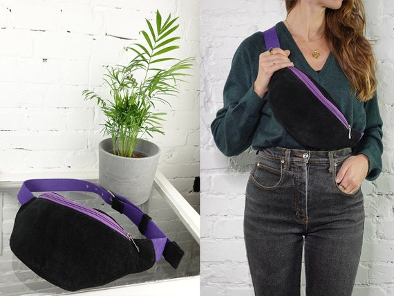 Fanny Pack Vegan Bum Bag Corduroy Belt Bag Women Waist Pack Hip Bag Black Bum Bag Vintage Clothing Corduroy Belt Bag Festival Bum Bag BB4