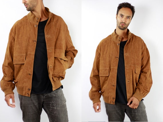 Vintage Suede Jacket Vintage Suede Bomber Suede Bomber Jacket Brown Suede Jacket Brown Bomber Jacket Soft Suede Jacket Large Suede WLJ88