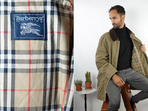 Burberry Coat Vintage Coat Burberrys Coat Green Burberry Coat Mens Coat Corduroy Collar Burberry Jacket Vintage Clothing  CO139