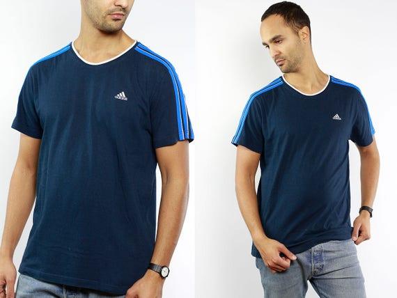 T-Shirt Adidas / Vintage Adidas / Adidas Top / Adidas T-Shirt / Adidas Vintage / Blue Adidas T-Shirt / Vintage Adidas Top / 90s Adidas
