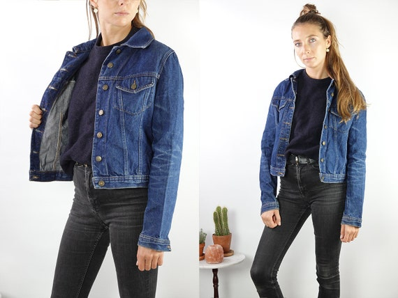 Vintage Denim Jacket Vintage Jean Jacket Blue Denim Jacket Cropped Denim Jacket Cropped Jean Jacket Grunge Denim Jacket Small Jacket DJ175