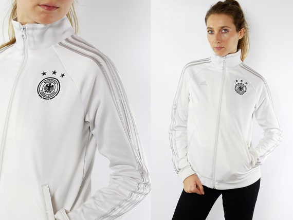 Germany Track Jacket Windbreaker Adidas White Track Jacket Adidas Germany Shell Jacket Football Jersey Adidas Jacket White Vintage Adidas