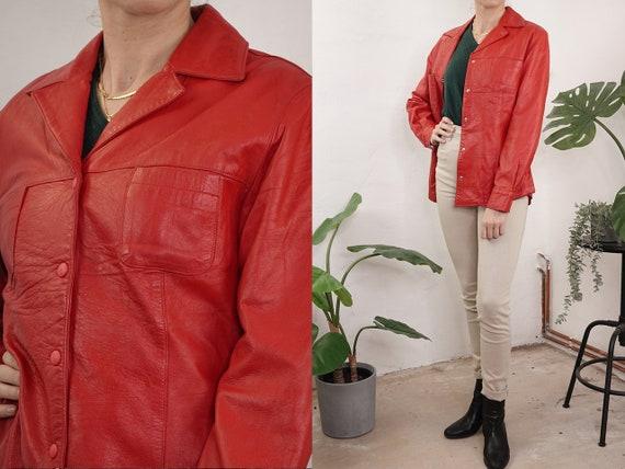 80s Leather Jacket Red Vintage Leather Jacket Retro 80s Jacket Womens Leather Jacket Cropped Vintage Clothing Second Hand BLJ33