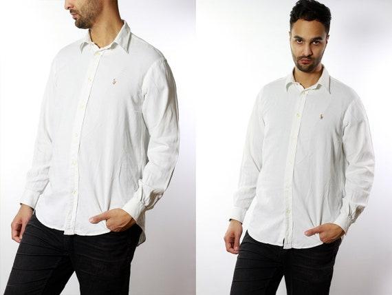 RALPH LAUREN Shirt Ralph Lauren Button Up White Shirt Mens Shirt White Vintage Ralph Lauren Vintage Shirt Oxford Shirt Polo Ralph LaurenHE13