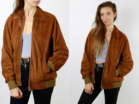 Suede Jacket Suede Bomber Jacket Leather Jacket Vintage Clothing Vintage Jacket Womens Jacket Brown Suede Jacket Brown Leather Jacket SUJ81
