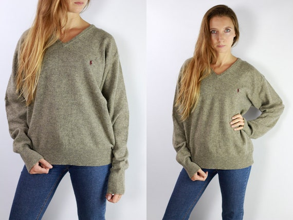 RALPH LAUREN Jumper Ralph Lauren Sweater  Ralph Lauren Women Polo Ralph Lauren Beige Wool Jumper  Beige Wool Sweater Vintage Jumper P5
