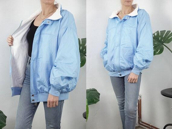 Puffer Jacket Blue Vintage Bomber Jacket Baby Blue Vintage Jacket Blue Oversize Puffer Womens Jacket Second Hand Vintage Clothing  JA166