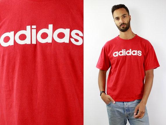 Adidas T-Shirt Red Vintage Adidas T-Shirt Adidas Retro T-Shirt Adidas T Shirt Vintage T Shirt Red T-Shirt 90s Adidas Shirt Adidas Equipment