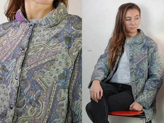 Quilted Jacket Quilted Coat Paisley Jacket Paisley Coat Light Jacket Light Coat Jacket Vintage Coat Womens Jacket Vintage Clothing JA135