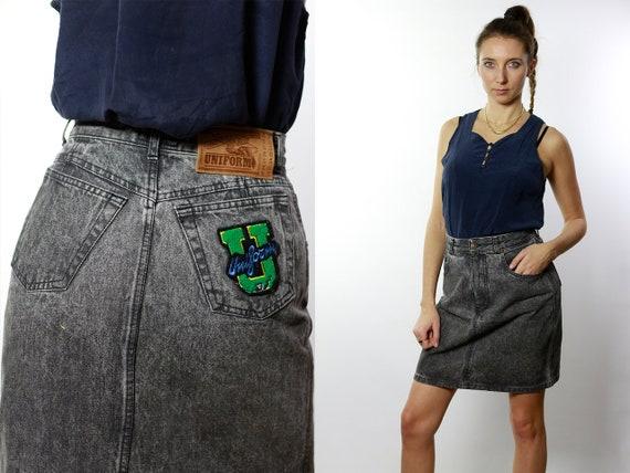 Denim SKIRT High Waist  / Vintage Denim Skirt / Denim Skirt  Vintage / 80s Skirt / Pencil Skirt / Denim Mini Skirt Jean Skirt High Waist R7