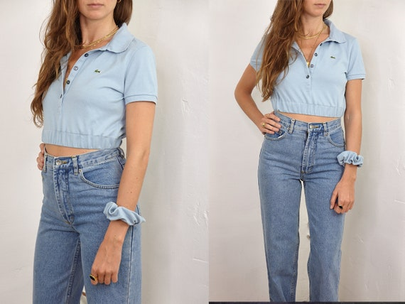 Crop Top Lacoste Scrunchie Top Lacoste Poloshirt Lacoste Polo Shirt Vintage Lacoste Shirt Light Blue Reworked Shirt Vintage Clothing RP1