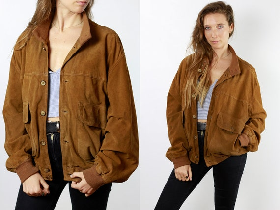 Suede Jacket Brown Suede Suede Bomber Jacket Vintage Suede Soft Leather Jacket Oversize Jacket Vintage Clothing 80s Suede Jacket SUJ83