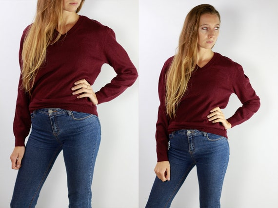 Burberry Sweater / Burberry Jumper / Burberry Wool Jumper / Burberry / Burberry Vintage / Wool Jumper Wool Sweater Bordeaux wool Jumper P33