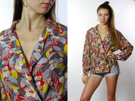 Silk Blouse Red / Silk Blouse / Silk Shirt Red / Vintage Silk Blouse / Retro Silk Blouse / Floral Print Blouse Floral Print Shirt HE43