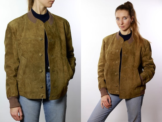 Vintage Suede Jacket Vintage Suede Bomber Suede Bomber Jacket Brown Suede Jacket Brown Bomber Jacket Soft Suede Jacket Large Suede SUJ55