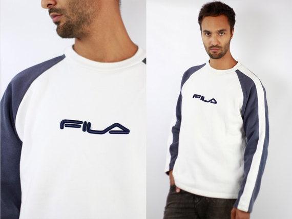 Vintage FILA Sweatshirt 90s Fila Sweatshirt 90s Sweater Fila Jumper Fila Vintage Jumper Streetwear Blue Sweatshirt Large Sweatshirt Fila 208