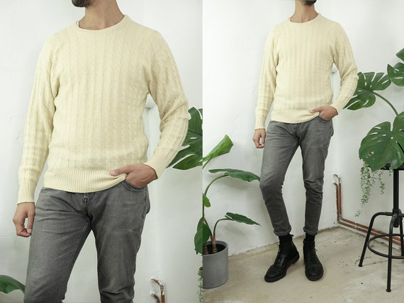 Ballantyne Sweater Cashmere Jumper Wool Cable Knit Sweater Yellow Oversize Jumper Knot Pattern Sweater Vintage Clothing Second Hand WP272