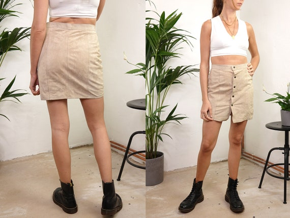 High Waist LEATHER SKIRT Vintage 80s Pencil Skirt Leather Mini Skirt Beige Leather Skirt Suede Vintage Clothing Second Hand R32