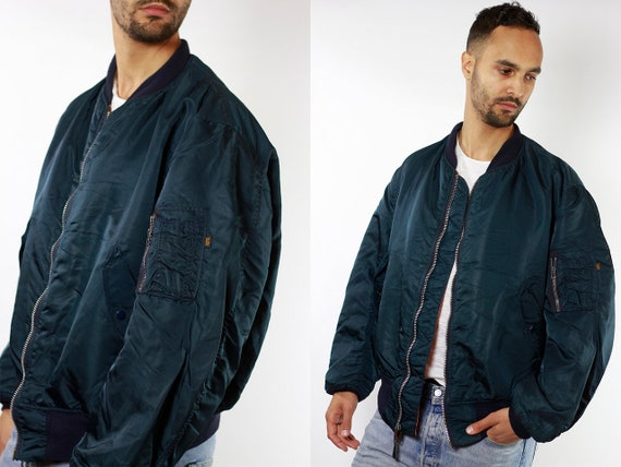 Bomber Jacket Blue Bomber Jacket Alpha Bomber Jacket Alpha Industries Mens Jacket Vintage Bomber 90s Bomber Jacket Vintage Clothing JA77