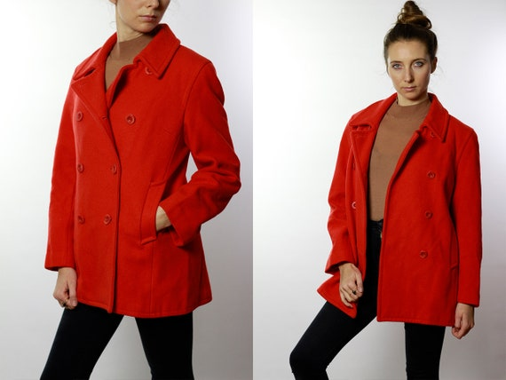 Ralph Lauren Wool Coat Red / Red Wool Coat / Wool Coat Red / Wool Coat Vintage /  Red Coat Wool / Vintage Oversize Wool Coat  JA60