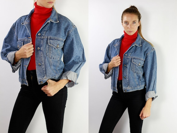 Vintage Denim Jacket Vintage Jean Jacket Blue Denim Jacket Cropped Denim Jacket Cropped Jean Jacket Grunge Denim Jacket Small DJ13