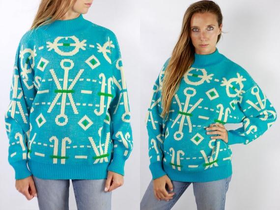 Vintage Wool Jumper Vintage Wool Sweater Blue Jumper Blue Sweater Oversize Jumper Oversize Sweater Warm Wool Jumper Warm Wool Sweater Wp65
