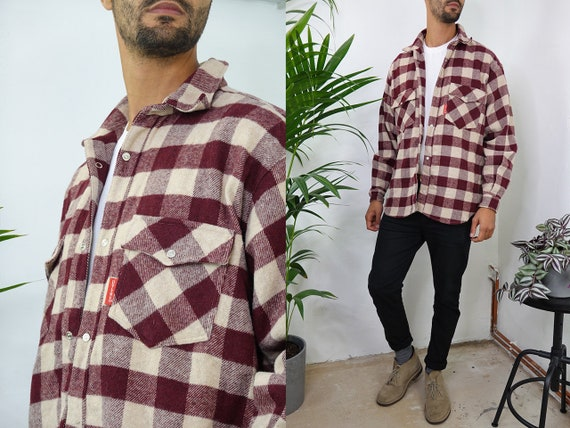 Lumberjack Shirt Flannel Shirt Check Pattern Shirt Button Down Shirt Checked Shirt Vintage Clothing Large Grunge Shirt Plaid Shirt HE204