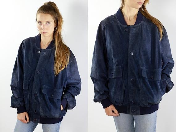 Vintage Suede Jacket Suede Bomber Jacket Blue Suede Jacket Suede Jacket Women Suede Bomber Oversize Suede Jacket Soft Leather Jacket