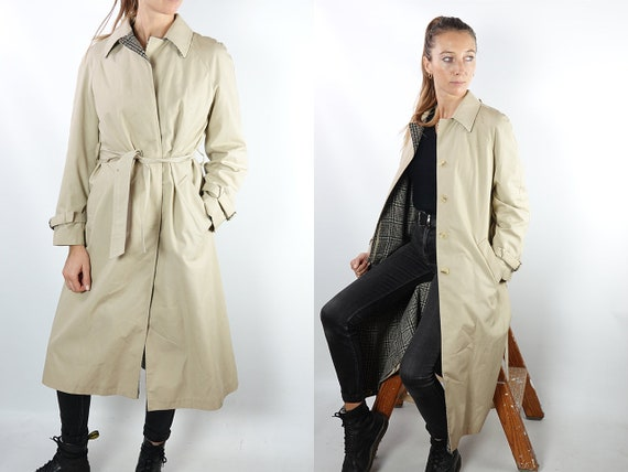 Vintage Trench Coat Long Trench Coat Long Coat Beige Trench Coat Small Womens Trench Coat 80s Trench Coat Warm Vintage Clothing CO127