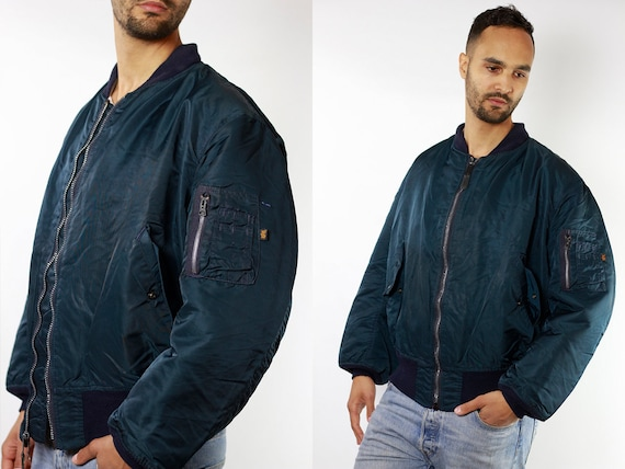 Bomber Jacket Blue Bomber Jacket Alpha Bomber Jacket Alpha Industries Mens Jacket Vintage Bomber 90s Bomber Jacket Vintage Clothing JA76