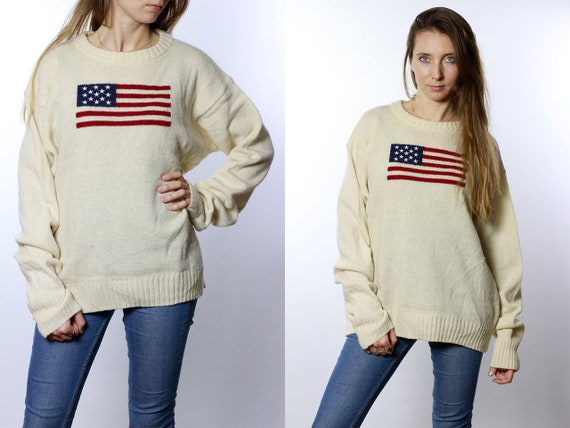Vintage Wool Jumper, Vintage Wool Sweater, White Wool Jumper, White Wool Sweater, American Flag Jumper, American Flag Sweater, P62