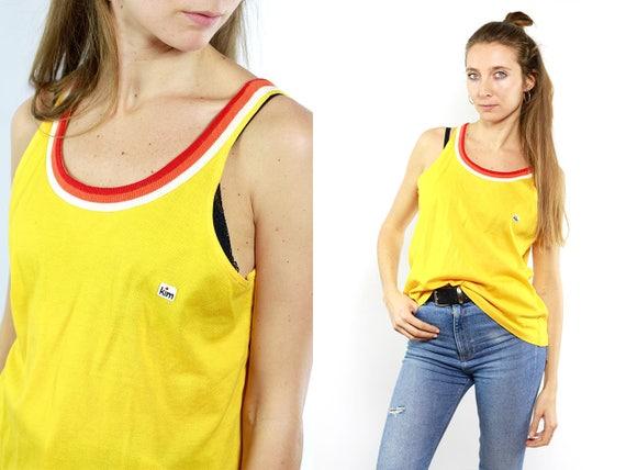Vintage Tanktop / Tanktop Vintage / Top Vintage / Vintage Top / Yellow Top / Vintage T Shirt / T Shirt Vintage / Yellow Tanktop / Crop Top