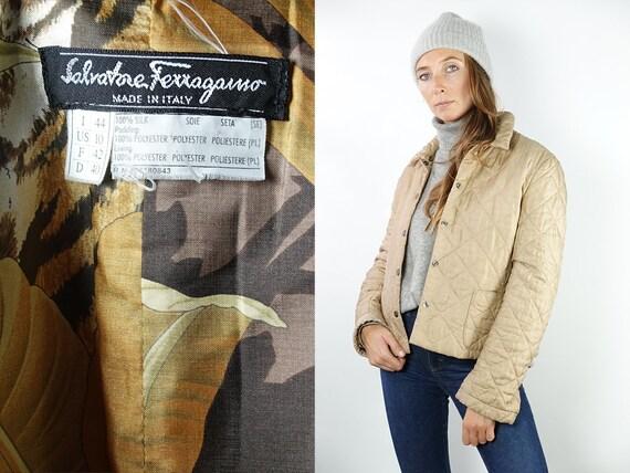 Salvatore Ferragamo Jacket Designer Jacket Beige Coat Ferragamo Coat Quilted Coat Beige Quilted Jacket Womens Jacket Silk  JA111
