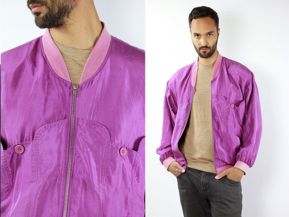 Silk Bomber Jacket Silk Jacket Purple Silk Jacket Men Vintage Silk Bomber Jacket Vintage Bomber Jacket Purple Bomber Jacket Bomber SJ26