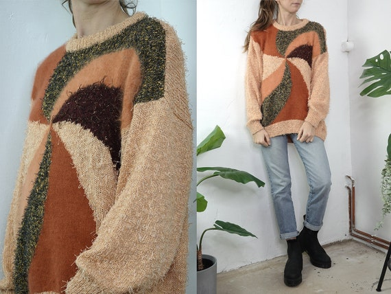 Wool Jumper Vintage Wool Sweater Geometrical Jumper Oversize Jumper Salmon Sweater Warm Wool Jumper Second hand Vintage Clothing WP275