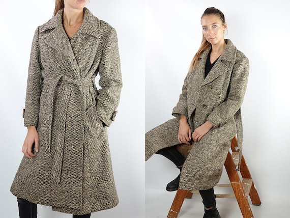 Vintage Coat Vintage Wool Coat Brown Vintage Coat 80s Wool Coat Winter Coat Warm Vintage Clothing Wool Trench Coat Womens Coat Small CO119