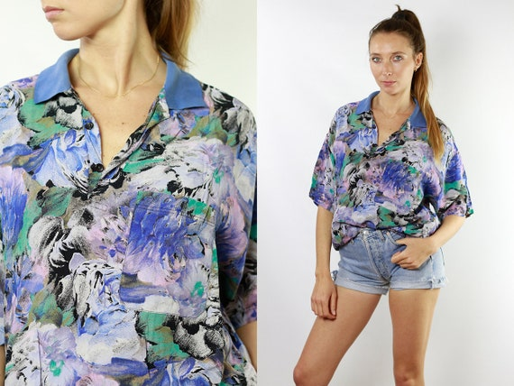 Floral Blouse Summer Blouse Tropical Shirt 80s Light Shirt Vintage Tshirt Women Shirt Vintage Shirts Womens Blouse Vintage Clothing HE109