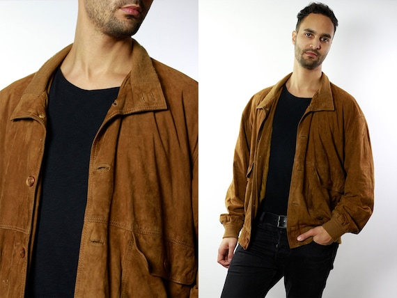 Vintage Suede Jacket Vintage Suede Bomber Suede Bomber Jacket Brown Suede Jacket Brown Bomber Jacket Soft Suede Jacket Large Suede SUJ49