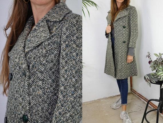 Vintage Coat Vintage Wool Coat Herringbone Vintage