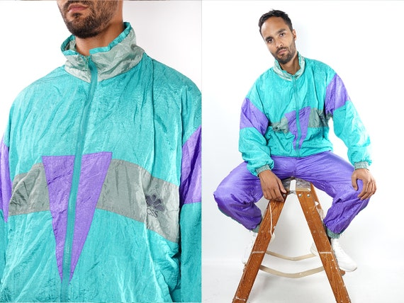 Vintage Tracksuit Purple Tracksuit Vintage Windbreaker Purple Windbreaker 90s Windbreaker Festival Jacket Vintage Clothing Men TJ11