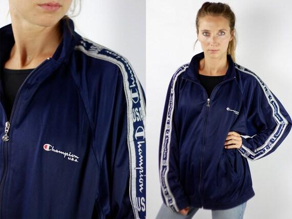 Champion Windbreaker Champion Track Jacket Champion Jacket Blue Windbreaker 90s Track Jacket Champion Shell Jacket Black Shell Jacket 90s