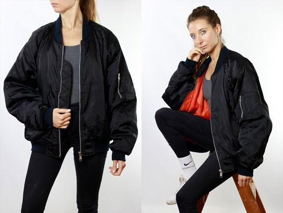 Bomber Jacket 90s Bomber Jacket Vintage Clothing Women Jacket Black Bomber Jacket Vintage Bomber Oversize Jacket 90s Clothing JA81