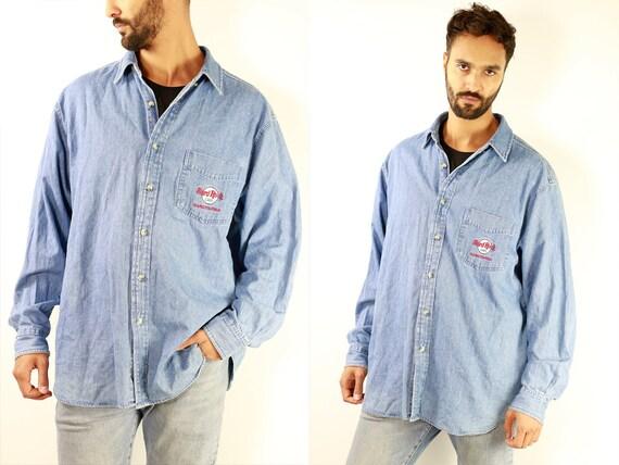 Vintage Denim Shirt Vintage Jean Shirt Mens Shirt Blue Shirt Vintage Jeans Shirt Hard Rock Cafe Shirt Jean Shirt Denim Shirt Vintage HE8