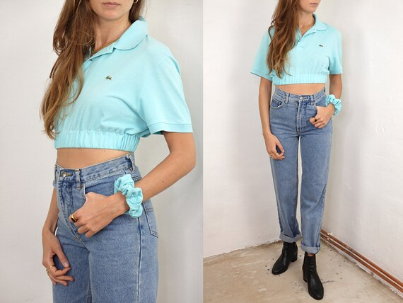 Crop Top Lacoste Scrunchie Top Lacoste Poloshirt Lacoste Polo Shirt Vintage Lacoste Shirt Light Blue Reworked Shirt Vintage Clothing RP6