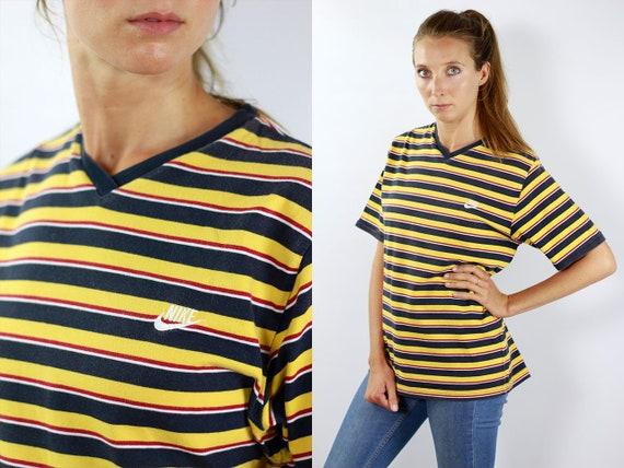 NIKE T-Shirt Yellow Nike T-Shirt Nike Retro T-Shirt Nike T-Shirt Vintage T-Shirt Striped T-Shirt 90s Nike Shirt T-Shirt Nike Mens T-Shirt