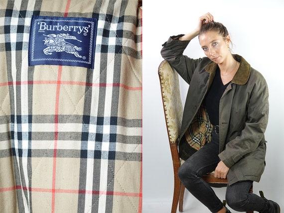 Burberry Coat Vintage Coat Burberrys Coat Green Burberry Coat Womens Coat Corduroy Collar Burberry Jacket Vintage Clothing  CO140