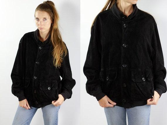 Black Bomber Jacket Suede Bomber Jacket Suede Black Vintage Suede Jacket 80s Suede Jacket Bomber Jacket Suede Jacket Leather Jacket