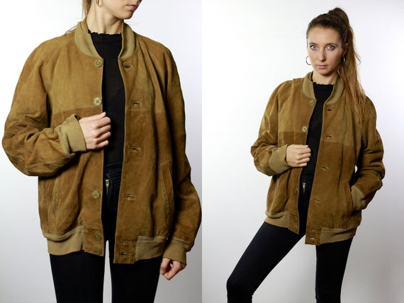 Vintage Suede Jacket Vintage Suede Bomber Suede Bomber Jacket Brown Suede Jacket Brown Bomber Jacket Soft Suede Jacket Large Suede SUJ34