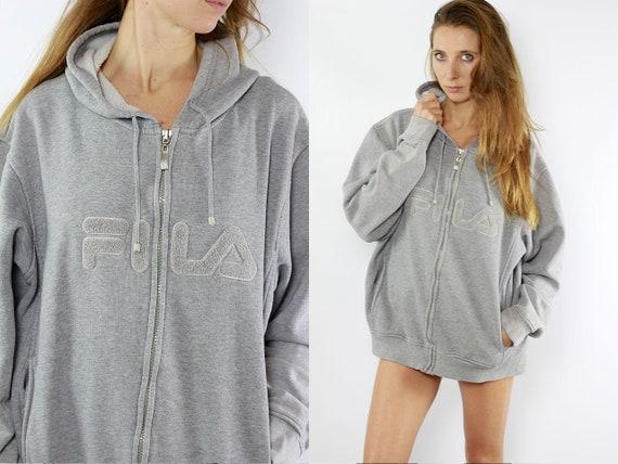 Fila Hoodie Grey Fila Sweatshirt Fila Jumper Vintage Sweatshirt Vintage Hoodie 90s Grey Hoodie 90s Sweatshirt Jumper Vintage Jumper Fila