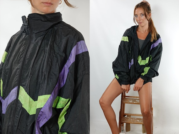 90s Windbreaker Festival Jacket Vintage Windbreaker Vintage Track Jacket Oversize Windbreaker 90s Track Jacket  Vintage Clothing Women TJ8